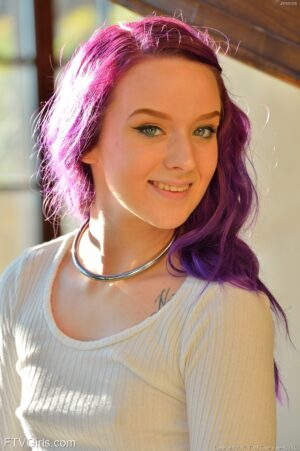 Teen FTV Girl Jessica With Purple Hair Masturbates and Fists Her Shaved Pussy