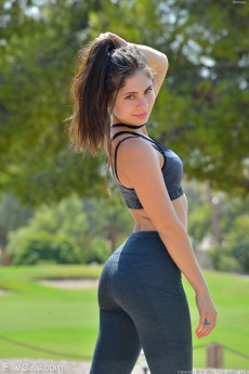Small tits cutie Somara drops her yoga pants to show us her amazing ass outside in public