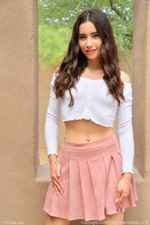 Slim brunette heart throb Arya slips out of her mini skirt to slip a glass toy inside her quim