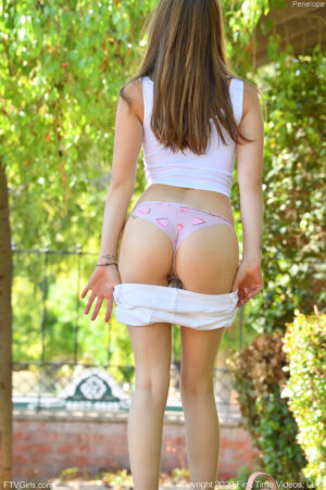 Lithe young beauty Penelope rides her huge dildo until she gushes