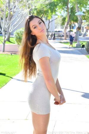 Lovely young thing Kara teasing in public showing her perfect ass and tits then flashing her pussy