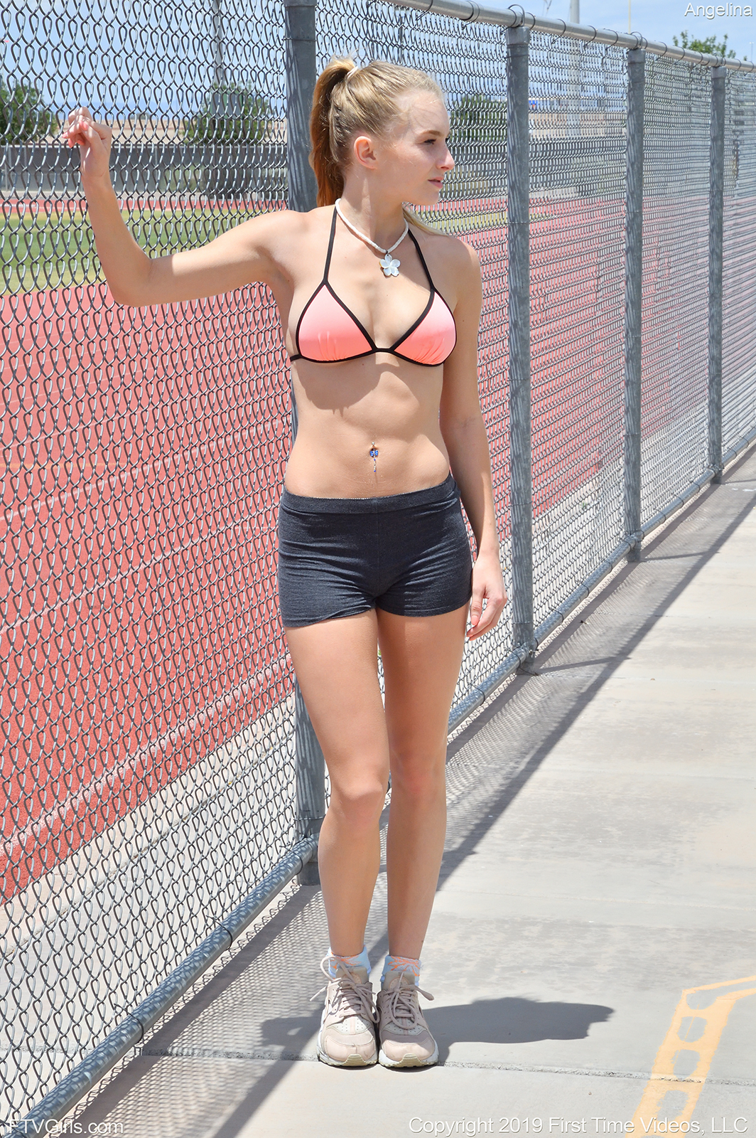 Sporty playful hottie Angelina flashing her tits and ass in public