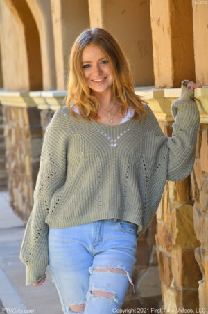 Teasing blonde coed Elana flashing her small tits and tight ass on campus