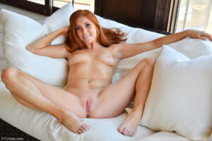 Freckle faced nude ginger Jayme goes one on one with the pink monster