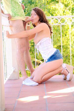 Amazingly hot teen Gabby sucks and fucks a hard cock