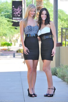 Leggy teens Kirsten and Natalie get nasty in their skirts in public