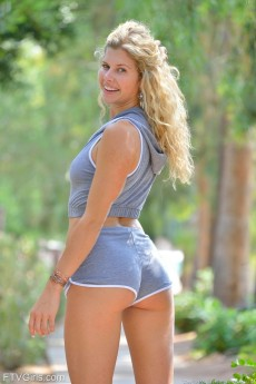 Leggy blonde Lila gets her short shorts wet with pussy juice - Looks good in blue