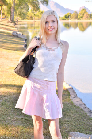Tiny teen sensation Jocelyn flashes her pussy in public and shows how frothy it is
