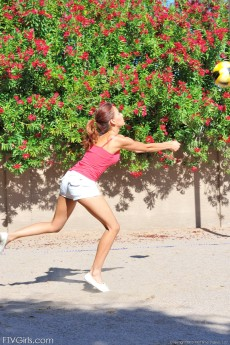 Perfect body teen Valerie plays naked volleyball in a public park