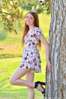 Young beautiful redhead coed Jane shows her fiery pussy under her dress in public